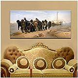 Pintor famoso Ilya Repin Volga River Trackers Pintura sobre lienzo Pintura famosa sobre lienzo Imagen de arte de pared para la decoración de la sala de estar -50x100cm Sin marco