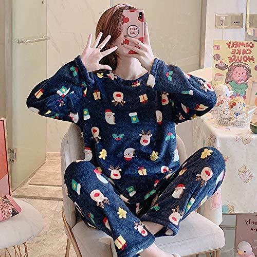 Pijamas para Mujer,Papá Noel Patrón De Alce Azul Camisas De Dormir Suaves Franela De Primavera Y Otoño Estilo Coreano De Manga Larga Más Terciopelo Lindo Traje De Servicio A Domicilio para Mujer ALB