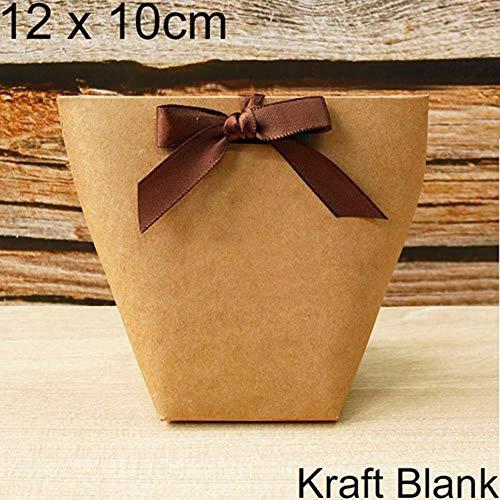 Xinger 5 stks zwart wit bronzing snoepzak frans dank u trouwbedankjes geschenkdoos pakket verjaardagsfeestje gunst tassen, 12x10 cm blanco kraft
