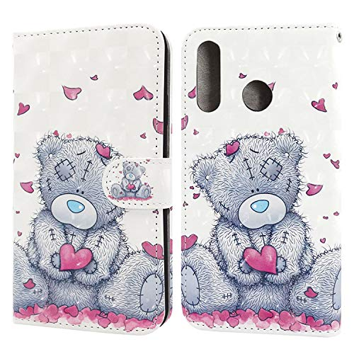 Ailisi Huawei P30 Lite Case, 3D visual Cute Love heart Teddy bear Leather wallet flip booklet case magnetic protective cover with shockproof TPU, Stand function, Card Slots +1 pcs Lanyard Strap
