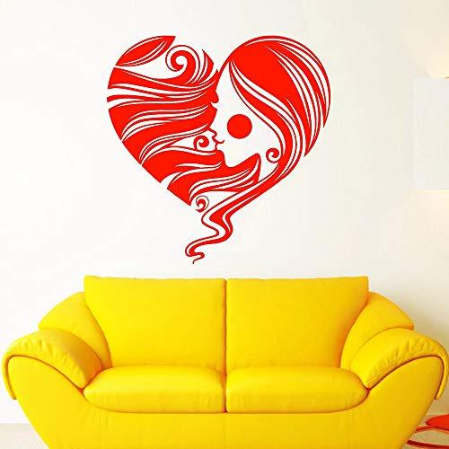 YuanMinglu Símbolo del corazón Pegatina de Pared Chica romántica Cara de Pelo Peinado Sala de Estar Dormitorio Art Deco Mural Rojo 57x57cm