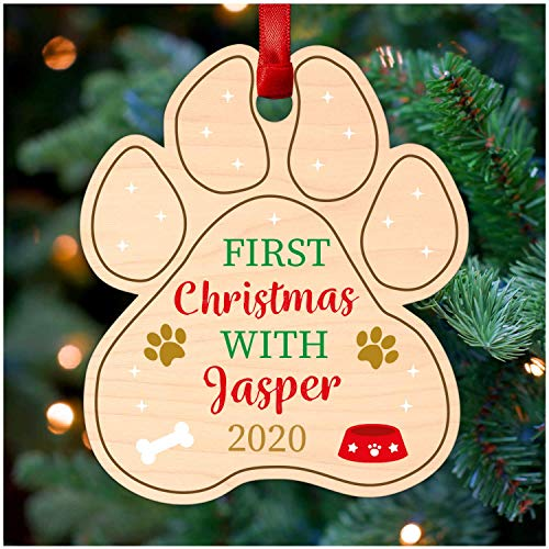 Puppy Dog Paw Print Personalised Christmas Tree Decoration - 1st First Christmas Dog Pawprint Decoration - Printed Wood Christmas Tree Ornament - Christmas Gifts for Dog Puppy Pug Labrador Retriever
