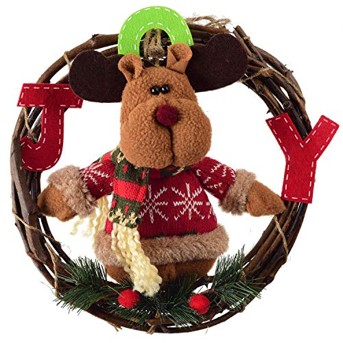 Grapevine Wreath, Merry Christmas Wreath with Reindeer Snowman Santa Claus Front Door Wreaths for Home Kitchen Wall Window Hall Decor (Color 3)