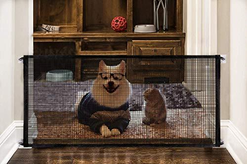Nifogo Hunde Türschutzgitter Magic Gate für Hunde, Haustier-Schutzgitter, Tragbares und Faltbares Sicherheitsgitter für Hunde, Sicherer Schutz überall zu Installieren (L, Schwarz 180x72cm)