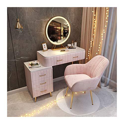 Mesa de Maquillaje Moderna con 3 cajones Grandes Armario de Almacenamiento Conjunto de tocador de Terciopelo con Espejo Redondo y Taburete, Muebles de Dormitorio 100 x 40 x 76 cm