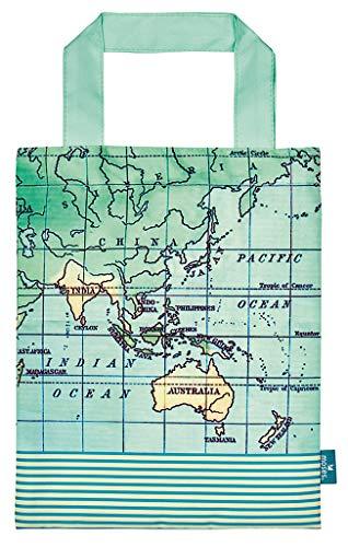moses. Fernweh Büchertasche Weltkarte | Wasserabweisende Tragetasche | Für Buchliebhaber Taschenorganizer, 24 cm, Mintgrün