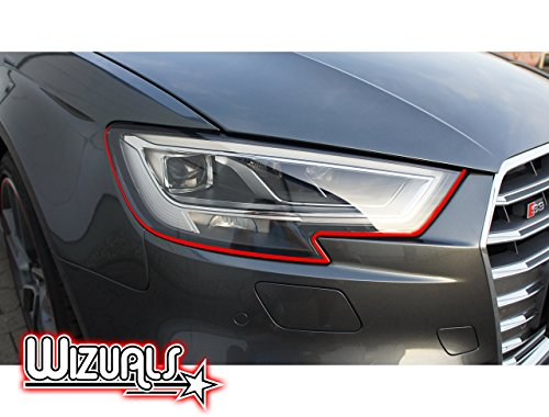 DEVIL STRIPES OGE EYE TEUFEL koplamp ORIGINELE WIZUALS + MIRROR strips SET, 6-delige folieset gemaakt van hoogwaardige folie, voor uw voertuig XC90 in rood