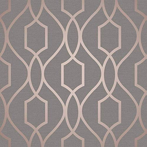 Fine Décor FD41998 UK Apex Trellis Sidewall Wallpaper, Copper/Charcoal