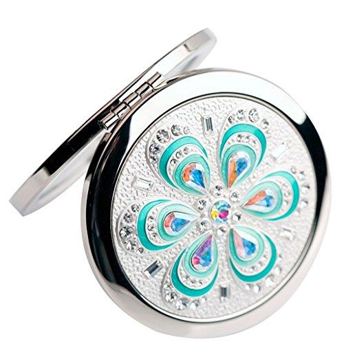 Relaxbx Miroir cosmétique en métal pli portatif loupe Double Face Double Face pour Soins de Peau cosmétiques Rasage et déplacement (Couleur: Or)