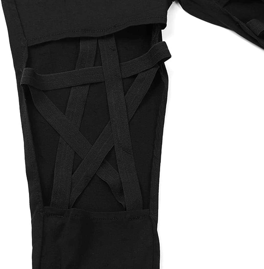 YEMOCILE Punk Gothic Women Leggings Hollow Out Five-Pointed Star Pentagram Pencil Sexy Pants