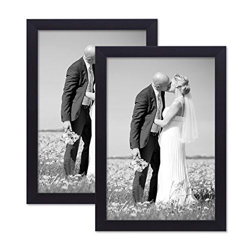 PHOTOLINI 2er Set Bilderrahmen 20x30 cm Schwarz Modern aus MDF mit Glasscheibe und Zubehör/Fotorahmen