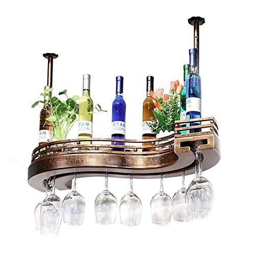 X&hui Hängende Weinregal Kelch Rack aus massivem Holz Hausbar Bar kopfüber Bronze S-förmige Hebe Weinschrank
