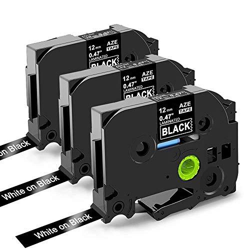 Oozmas kompatible Schriftband als Ersatz für Brother Tz Tape TZe-335 Weiß auf Schwarz 12mm x 8m, Etikettenbandfür Brother P-touch H100LB H105 D200BW D400VP E100, 3er-Pack