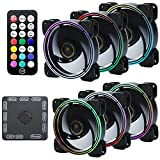 DS Wire Rainbow RGB Case Fan, Addressable RGB LED 120mm Fan with Remote Adjustable Color and Speed for PC Cases (6pcs RGB Fans kit, RF Controller, D Series)