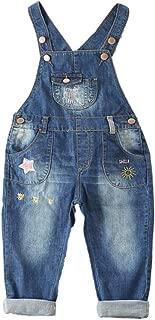 Kidscool Space Pure CottonBaby Girls Sun Star Decor Jeans Overalls