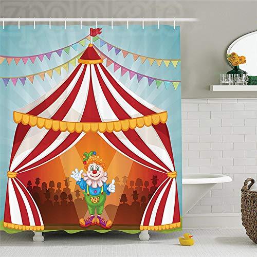 CHENHAO Cortina de Ducha Lavable Circo Payaso de Dibujos Animados en Carpa de Circo Alegre Disfraz Divertido Artista Alegre diseo polister bao Impermeable 200x240cm