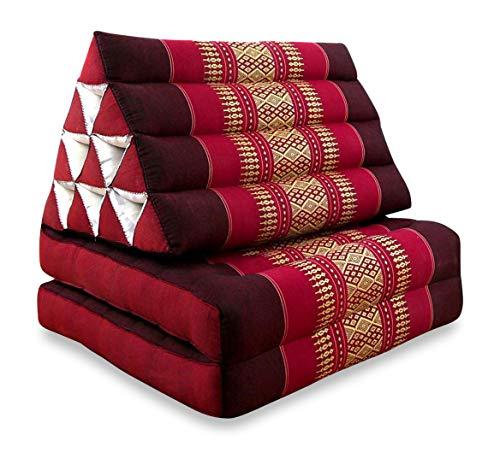 livasia Thaikissen der Marke Asia Wohnstudio, Orange, Kapok Dreieckskissen, asiatisches Sitzkissen, Liegematte, Thaimatte (Thaikissen 2 Auflagen)