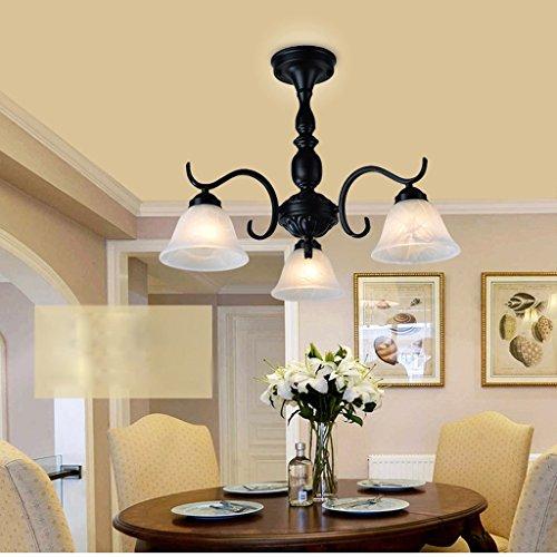Ywyun Lustres nordiques en fer à repasser simples, plafonniers américains, tableaux modernes, décoration décorée de lumières suspendues (Size : 48 * 45cm)