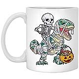 Skeleton Riding Mummy Dinosaur T Rex Halloween Coffee Mug - Dinosaur Halloween Coffee Mug 11oz