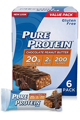 Pure Protein Bars, High Protein, Nutritious Snacks to Support Energy, Low Sugar, Gluten Free, Chocolate Peanut Butter, 1.76oz - Pack of 6