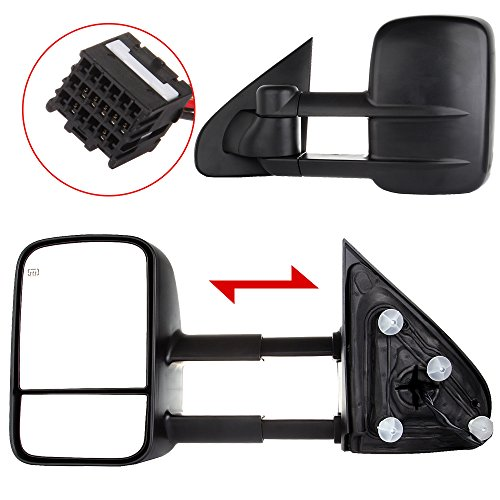 OCPTY Rearview Mirrors, Power Heated Towing Mirrors for 2014-2018 for Chevy Silverado 2014-2018 for GMC Sierra with Black Housing