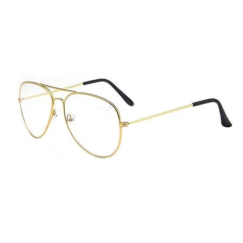 d2345652a1c Unisex Retro Pilot Aviator Eyeglasses Metal Frame Clear lens Vintage Fashion  Glasses Plain Eyewear for Men