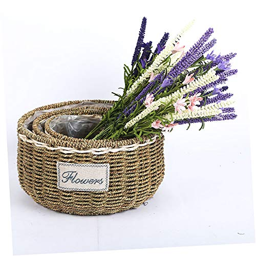 MNNE 3 STKS creatieve handgemaakte rieten geweven bloem mand stro rieten rotan bloempot bloem mand voor thuis decoratie