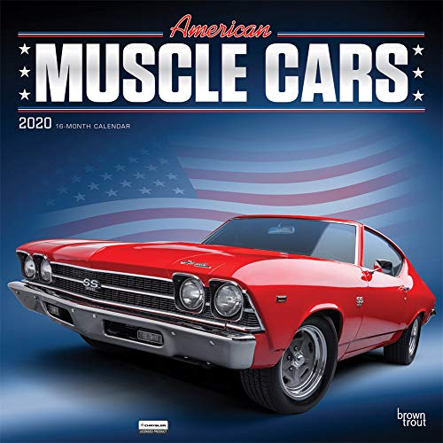 American Muscle Cars 2020 12 x 12 Inch Monthly Square Wall Calendar with Foil Stamped Cover, USA Motor Ford Chevrolet Chrysler Oldsmobile Pontiac (English, Spanish and )