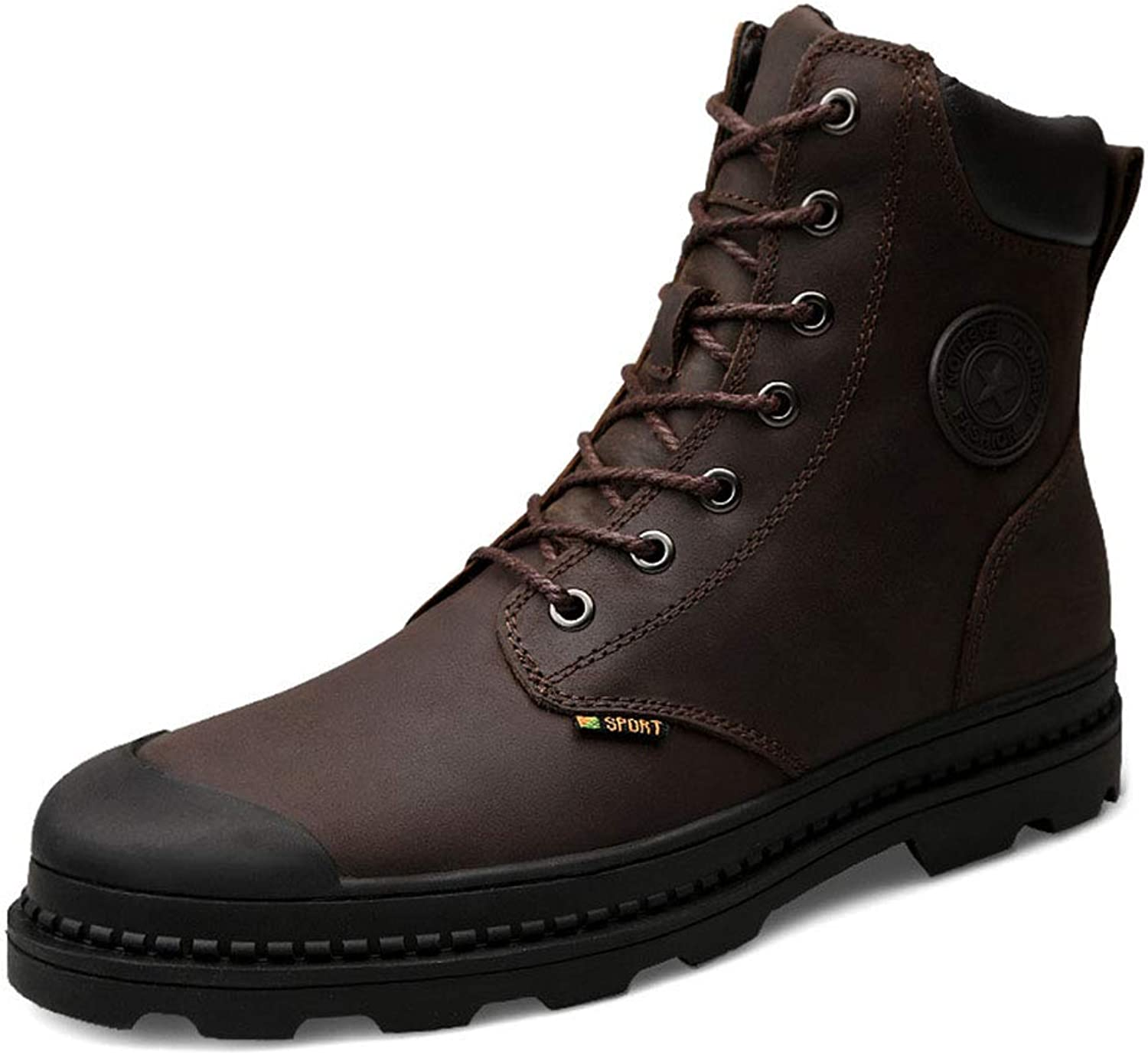 Men's Martin Boots Leather high-top Thick Heel Warm Cotton shoes lace up Fleece Lined Waterproof Snow Boots Winter Outdoor