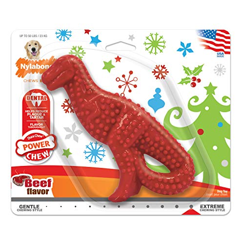 Nylabone Power Chew Holiday Dinosaur Chew Toy for Dogs Beef Flavor Large/Giant - Up to 50 lbs.