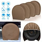 RVMasking Tire Covers for RV Wheel Set of 4 Heavy Duty 600D Oxford Motorhome Wheel Covers, Waterproof PVC Coating Tire Protectors for Trailer Truck Camper Auto, Fits 24'-26.5' Tire Diameters