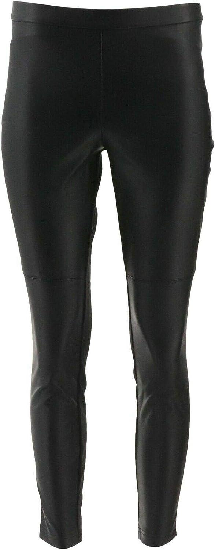H Halston Petite Faux Stretch Leather Ponte Leggings Black 8P New A294047