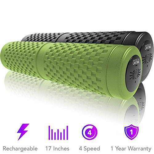 American Lifetime Vibrating Foam Roller - 17 Inch 4-Speed Rechargeable Electric High-Intensity...
