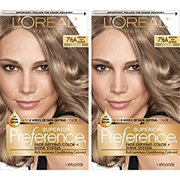 L Oreal Paris Superior Preference Fade-Defying + Shine Permanent Hair Color 7.5A Medium Ash Blonde Pack of 2 Hair Dye