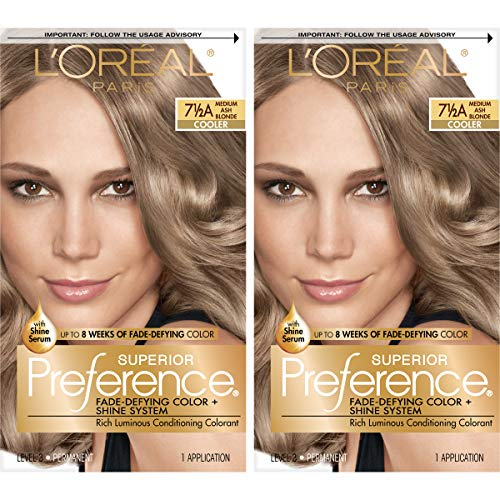 L'Oreal Paris Superior Preference Fade-Defying + Shine Permanent Hair Color, 7.5A Medium Ash Blonde, Pack of 2, Hair Dye