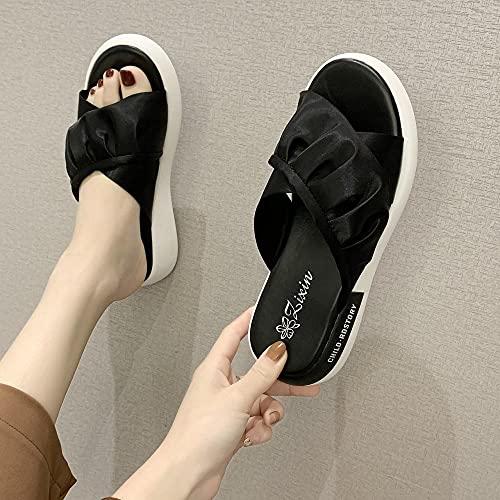 YYFF Sandalia Tipo Chancla con,Zapatillas de Playa Sandalia, Fashion Flat-Black_38,Zapatillas de Casa Antideslizante