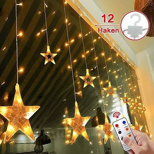 12 Sterne LED Lichtervorhang Lichterkette für Innen/Außen, 2.2x1M Afufu 108LED Sternenvorhang Warmweiß, wasserdicht nach IP65, Fernbedienung mit 8 Leuchtmodi, Weihnachtsdeko für Fenster Garten Zimmer