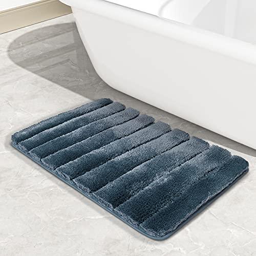 Color&Geometry Alfombra de baño Ultra Suave de 40 x 60 cm, Alfombra de baño Absorbente de Agua, Lavable a máquina, Alfombrilla de baño Antideslizante Alfombrillas de Felpa para Inodoro (Azul)