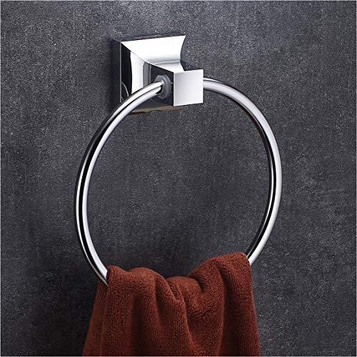 Wangel Handtuchring Handtuchhalter für Handtücher, Wandhalterung mit Schrauben, Edelstahl und ABS-Kunststoff, Verchromt