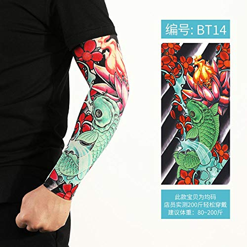 XTBB Sonnenschutz Arm ÄrmelTattoo Überarm Tätowierter Arm Nahtloser Armschutz Ärmel Frauen EIS Handschelle Viskose Sommer Reiten Sonnenbeständig OneSize Bt14
