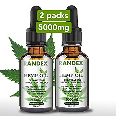 (2 Pack) 5000mg Organic Hemp Oil Randex – Pure Hemp Seed Oil Extract for Pain, Anxiety and Stress Relief - Hemp Oil for Healthy Sleep & Mood Support - Natural Hemp Drops Made in USA from Randex Trading Inc