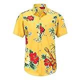 Shirt Hawaiana Hombre Verano con Botones Ajustados Tapeta Manga Corta Hombre Camisa Casual Bolsillos Estampado Vintage Básico Hombre Camisa Viaje Vacaciones Hombre Shirt Playa G-Yellow 2 XXL