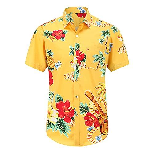Hawaiana Camisa Hombre Moderno Urbano Ajuste Regular Cárdigan Hombre Shirt Verano Vintage Floral Estampado Bolsillo Hombre Manga Corta Casual Vacaciones Hombre Playa Shirt G-Yellow 2 M