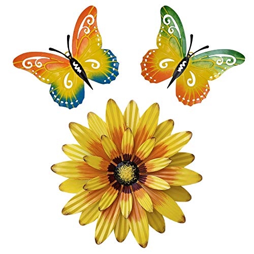 Set of 3 Metal Butterfly and Flower Wall Decor Outdoor Wall Art, Metal Wall Art Outdoor Wall Decor, Metal Wall Sculptures for Home Garden Patio Yard Fence Porch Tree(Yellow&Green)