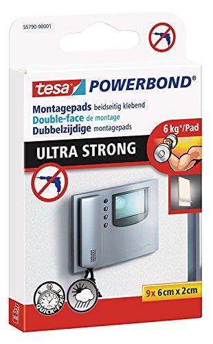 Tesa Double-Face montagepads, Power Bond Ultra Strong, supporte Max. 6 kg, Lot de 9