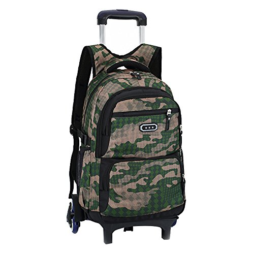 Fanci Flora Camo Waterproof Elementary Rolling Trolley School Bag Backpack for Boys Camouflage Wheeled Backpack Carry on Luggage with Six Wheels