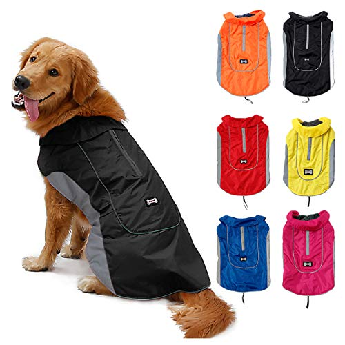 TFENG Reflektierend Hundejacke für Hunde, Wasserdicht Hundemantel Warm gepolstert Puffer Weste Welpen Regenmantel mit Fleece (Größe M, Schwarz)