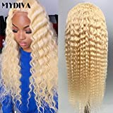 MYDIVA Glueless 613 Lace Front Wigs Peruvian Deep Wave Human Hair Wig For Women Deep Curly Blonde Transparent Lace Frontal Wigs Pre Plucked with Baby Hair 150 Density … (16 inches, 134 deep wave)