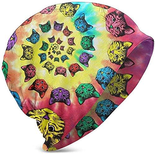 Edith Daisy Gorros Beanie Gatos en Espiral Tie Dye Cat Colorful Comfortbale Slouchy Collection Sombreros de Punto Skull Cap