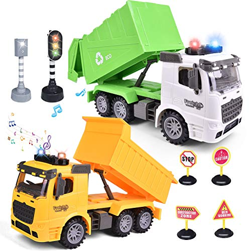 2PCs Friction Powered Garbage Truck Toys & Dump Truck Toy, Toy Truck for Boys